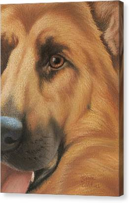 Goggie Shepherd Canvas Print by Karen Coombes