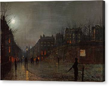 John Atkinson Grimshaw Canvas Print featuring the painting Going Home At Dusk by John Atkinson Grimshaw