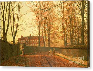 John Atkinson Grimshaw Canvas Print featuring the painting Going To Church by John Atkinson Grimshaw