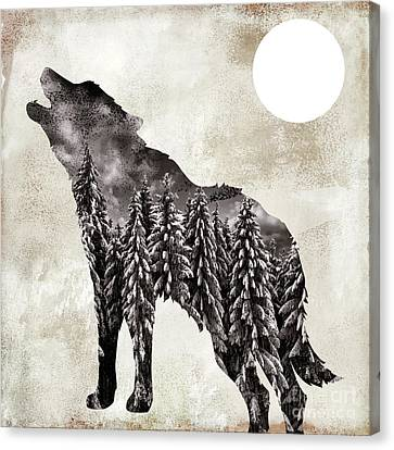Going Wild Wolf Canvas Print by Mindy Sommers