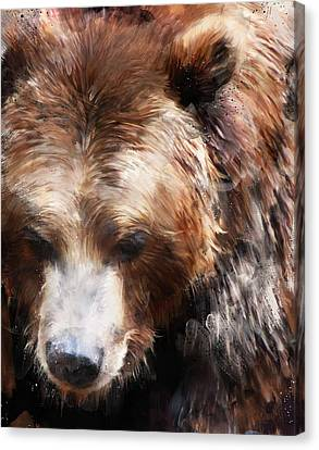 Bear // Gold Canvas Print by Amy Hamilton
