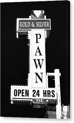 Gold And Silver Pawn Sign Canvas Print by Anthony Sacco