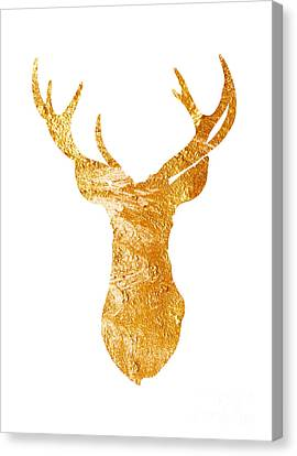 Gold Deer Silhouette Watercolor Art Print Canvas Print by Joanna Szmerdt