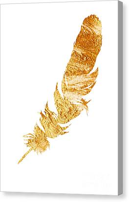 Gold Feather Watercolor Painting Canvas Print by Joanna Szmerdt