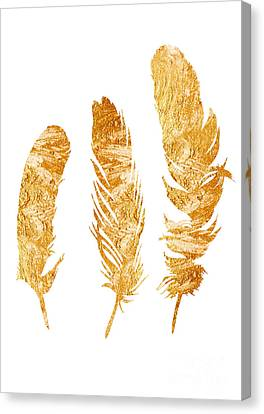 Gold Feathers Watercolor Painting Canvas Print by Joanna Szmerdt