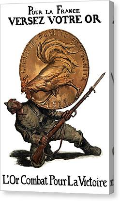 Gold Fights For Victory Canvas Print by War Is Hell Store