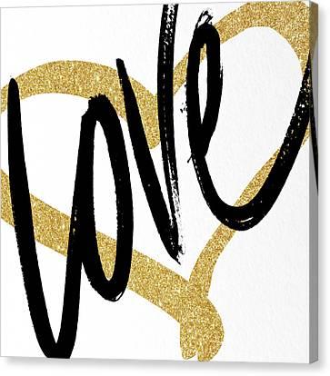 Gold Heart Black Script Love Canvas Print by South Social Studio