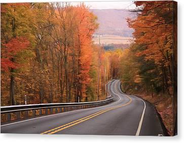 Gold Mine Road In Autumn Canvas Print by Lori Deiter
