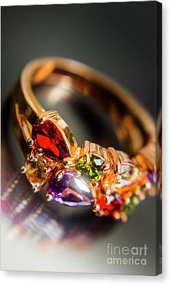 Gold Ring With Colorful Gemstone Design Canvas Print by Jorgo Photography - Wall Art Gallery