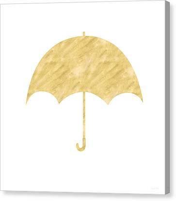 Gold Umbrella- Art By Linda Woods Canvas Print by Linda Woods