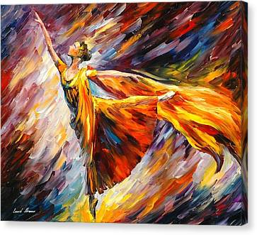 Gold Wave - Palette Knife Oil Painting On Canvas By Leonid Afremov Canvas Print by Leonid Afremov