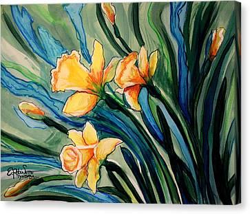 Golden Daffodils Canvas Print by Elizabeth Robinette Tyndall