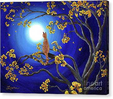 Golden Flowers In Moonlight Canvas Print by Laura Iverson