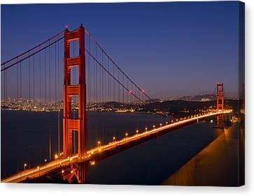 Golden Gate Bridge At Night Canvas Print by Melanie Viola