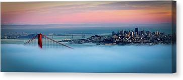 Golden Gate Foggy At Morning Canvas Print by Mark Brodkin Photography