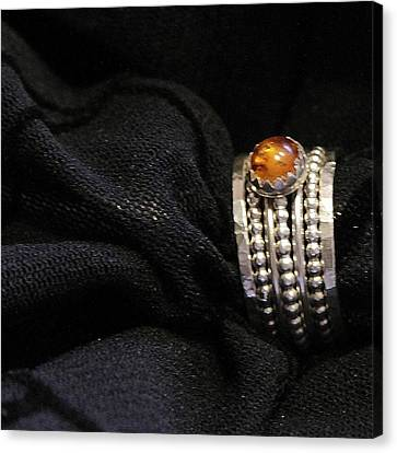 Golden Honey Baltic Amber And Stackable Sterling Silver Bold Rings Canvas Print by Nadina Giurgiu