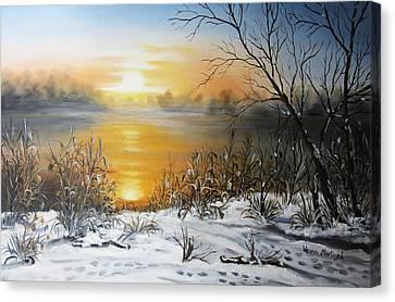 Golden Lake Sunrise  Canvas Print by Vesna Martinjak