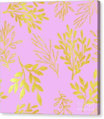 Golden Leaves On Pale Lilac Botanical Pattern Canvas Print by Tina Lavoie