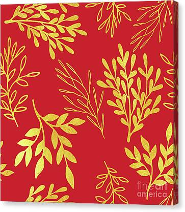 Golden Leaves, Rich Venetian Red Pattern Canvas Print by Tina Lavoie