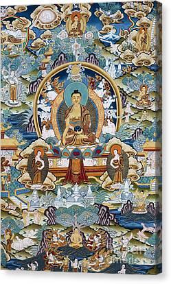 Golden Medicine Buddha Thangka Canvas Print by Tim Gainey