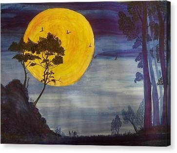 Golden Moon Canvas Print by Archana Saxena