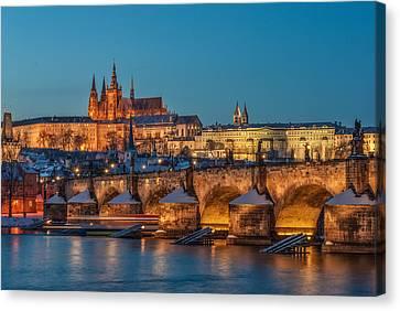 Golden Prague Panorama Canvas Print by Martin Capek