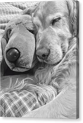Golden Retriever Dog And Friend Canvas Print by Jennie Marie Schell