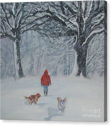 Golden Retriever Winter Walk Canvas Print by Lee Ann Shepard