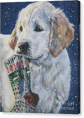 Golden Retriever With Xmas Stocking Canvas Print by Lee Ann Shepard
