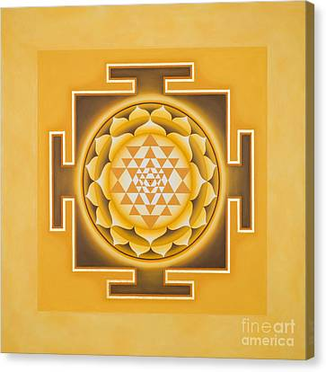 Golden Sri Yantra - The Original Canvas Print by Piitaa - Sacred Art