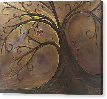 Golden Tree Of Life Canvas Print by Karen Ahuja