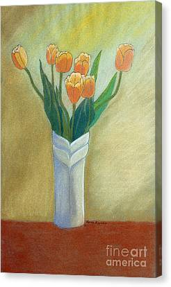Golden Tulips Canvas Print by Norma Appleton