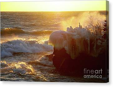 Golden Waves Of Superior Canvas Print by Sandra Updyke