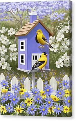 Goldfinch Garden Home Canvas Print by Crista Forest