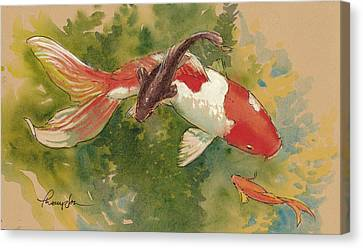 Goldfish Crossing Canvas Print by Tracie Thompson