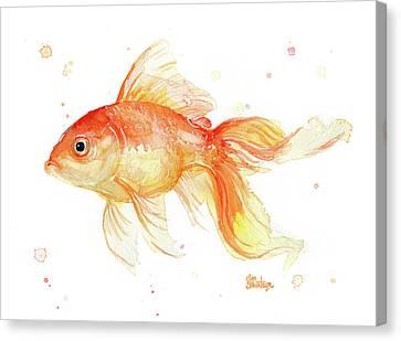 Goldfish Painting Watercolor Canvas Print by Olga Shvartsur