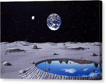 Golfing On The Moon Canvas Print by Snake Jagger