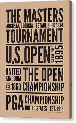 Golf's 4 Grand Slams Canvas Print by Mark Kingsley Brown