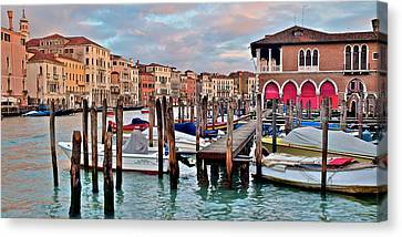 Gondola Mooring Poles Canvas Print by Frozen in Time Fine Art Photography