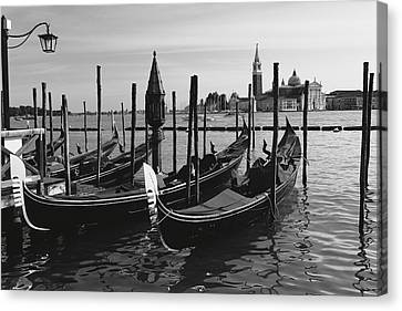 Gondolas Of Venice Canvas Print by George Oze