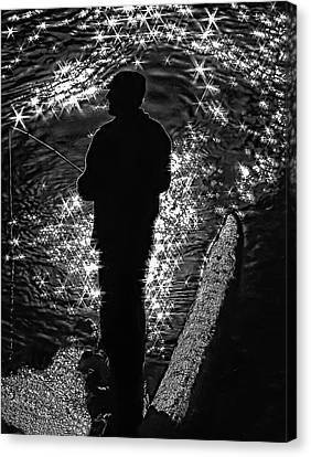 Gone Fishing Bw Canvas Print by Steve Harrington