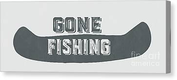Gone Fishing Vintage Sign Canvas Print by Edward Fielding