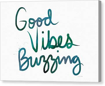 Good Vibes Buzzing- Art By Linda Woods Canvas Print by Linda Woods