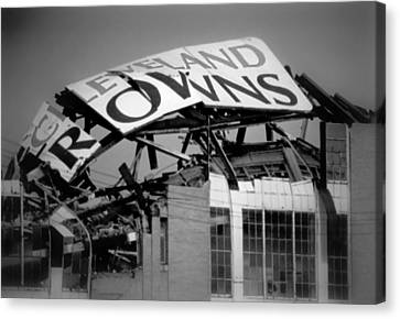 Goodbye Cleveland Stadium Canvas Print by Kenneth Krolikowski
