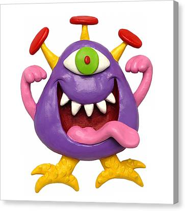Goofy Purple Monster Canvas Print by Amy Vangsgard