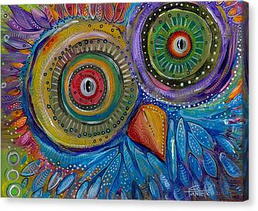 Googly-eyed Owl Canvas Print by Tanielle Childers
