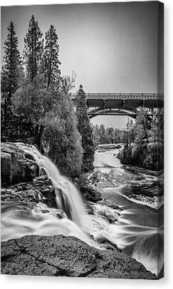 Gooseberry Falls Bridge In Black And White Canvas Print by Paul Freidlund