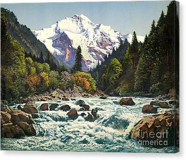 Gorge Of The Lutschine River Interlaken Canvas Print by Celestial Images