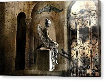 Gothic Surreal Angel With Gargoyles And Ravens  Canvas Print by Kathy Fornal