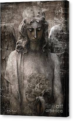 Gothic Surreal Mourning Angel - Inspirational Angel Art - Believe  Canvas Print by Kathy Fornal